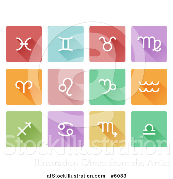 Vector Illustration of Flat Design White Astrology Horoscope Icons on Colorful Tiles