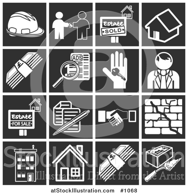 Vector Illustration of Flat White Home Construction Related Icons over Black Square Backgrounds