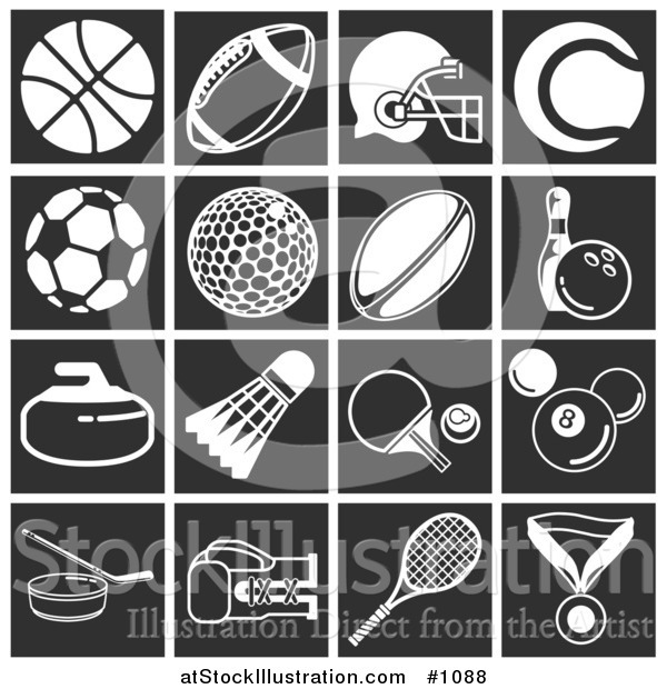 Vector Illustration of Flat White Sports Related Icons over Black Square Backgrounds