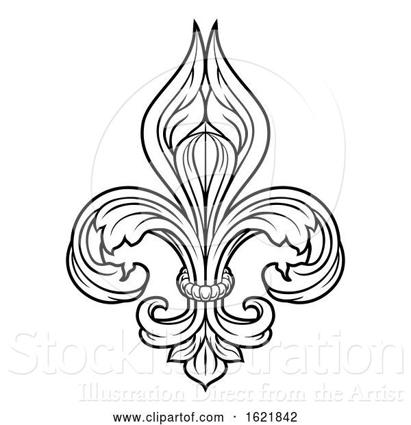 Vector Illustration of Fleur De Lis Graphic Design Element