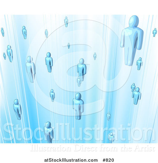 Vector Illustration of Floating Blue People in a Network
