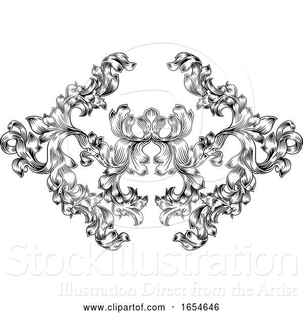 Vector Illustration of Floral Motif Scroll Pattern in Vintage Style