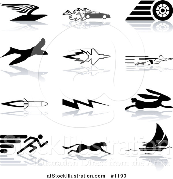 Vector Illustration of Flying Envelope, Race Car, Tire, Bird, Jet, Super Hero, Rocket, Lightning Bolt, Hare, Sprinter, Cheetah, and Sail Boat, over a White Background