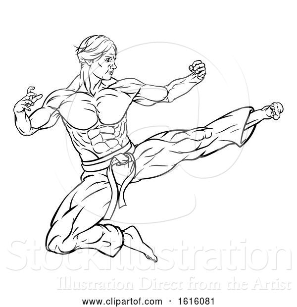 Vector Illustration of Flying Kick Karate or Kung Fu Guy