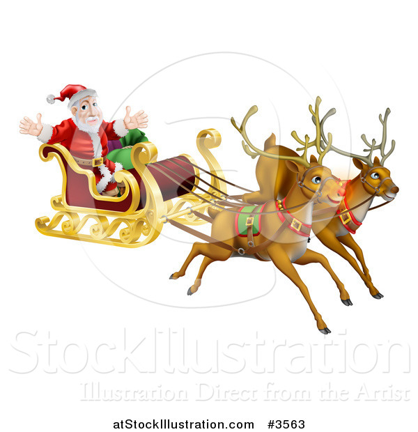 Vector Illustration of Flying Magic Reindeer and Santa in a Christmas Sleigh