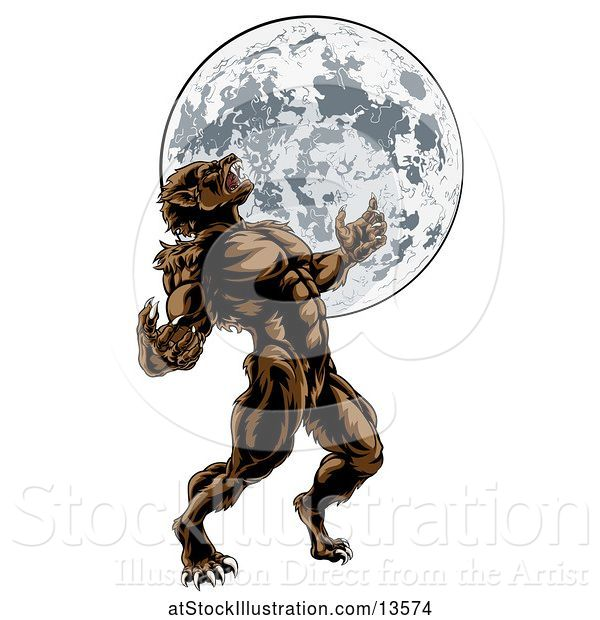 Vector Illustration of Full Length Werewolf Beast Howling and Transforming Against a Full Moon