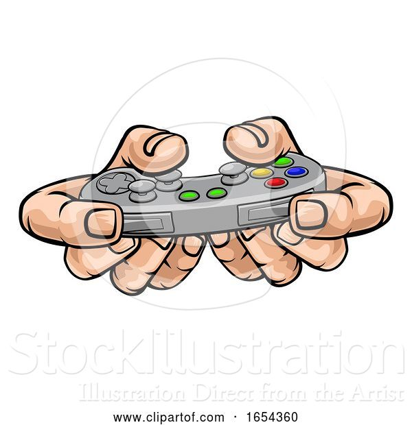 Vector Illustration of Gamer Hand Holding Video Gaming Game Controller