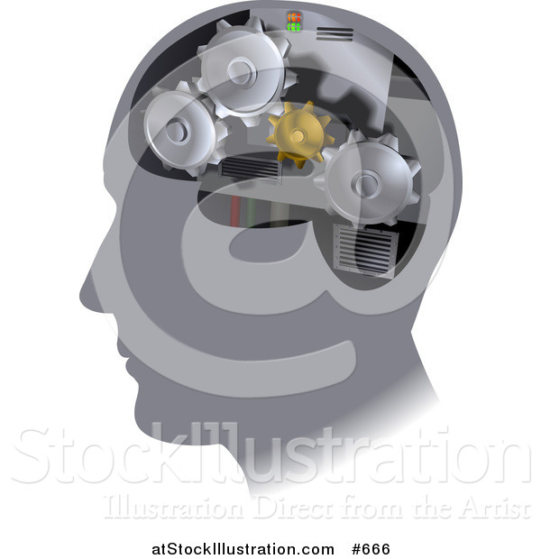 Vector Illustration of Gear Cogs Inside a Human Head