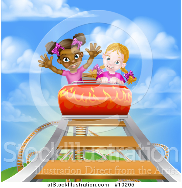 Vector Illustration of Girls on a Roller Coaster Ride, Against a Blue Sky with Clouds