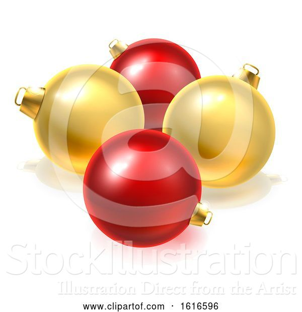 Vector Illustration of Gold and Red Christmas Bauble Balls Ornaments