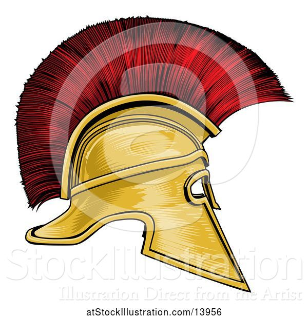 Vector Illustration of Gold and Red Spartan Helmet