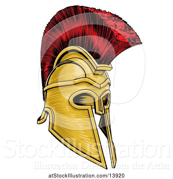 Vector Illustration of Gold and Red Trojan Spartan Helmet