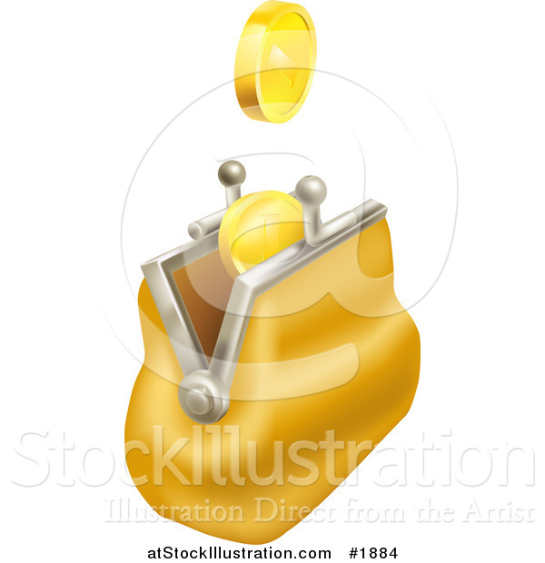 Vector Illustration of Gold Coins Falling into a Yellow Coin Purse