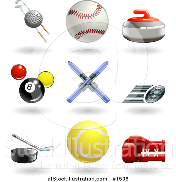 Vector Illustration of Golf Ball with Clubs, Baseball, Curling Stone, Pool Balls, Skis, Fast Tire, Hockey Puck, Tennis Ball and Boxing Glove