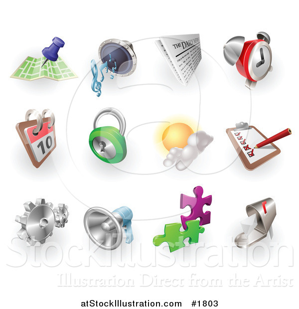 Vector Illustration of Gps, Audio, News, Alarm Clock, Calendar, Security, Weather, Checklist, Gears, Megaphone, Solutions and Email