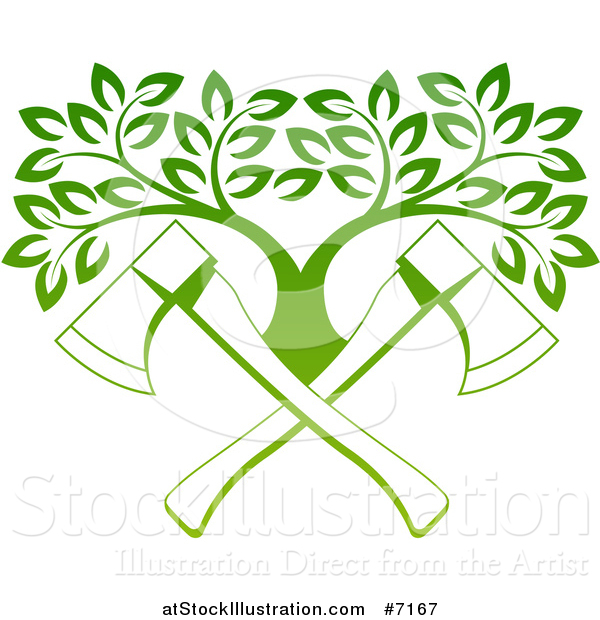 Vector Illustration of Gradient Green Crossed Axes and a Tree
