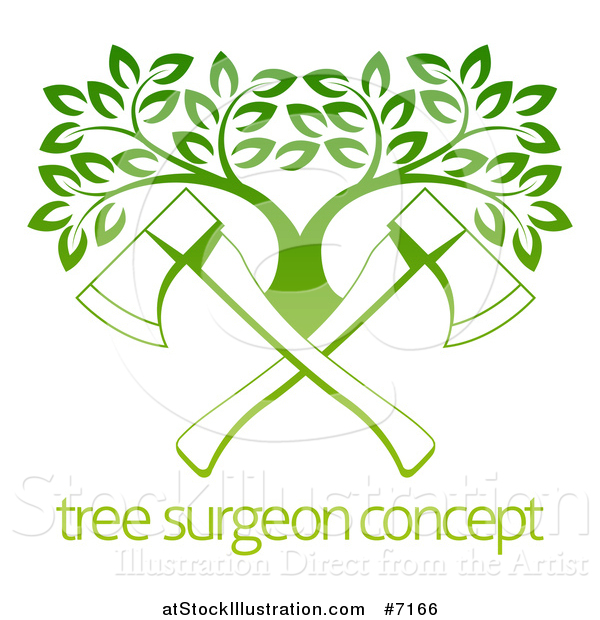 Vector Illustration of Gradient Green Crossed Axes and a Tree over Sample Text