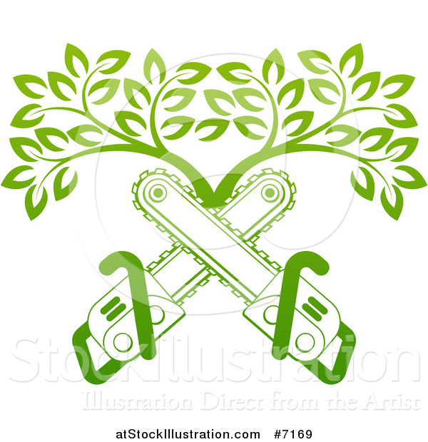 Vector Illustration of Gradient Green Crossed Chainsaws and a Tree