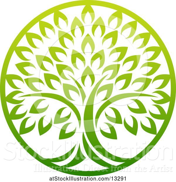 Vector Illustration of Gradient Lush Green Tree in a Circle