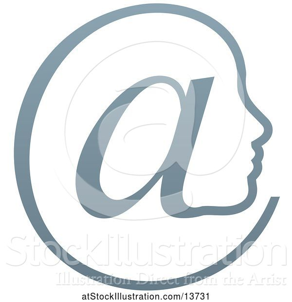 Vector Illustration of Gradient Profiled Face in an Email Arobase at Symbol