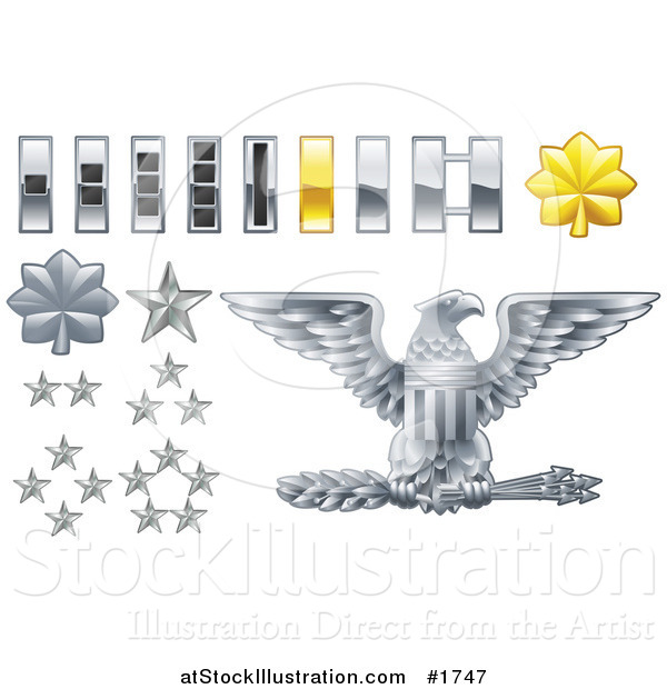 Vector Illustration of Gray and Yellow Military American Army Officer Ranks Insignia Icons