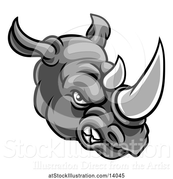 Vector Illustration of Grayscale Tough Rhinoceros Sports Mascot Head