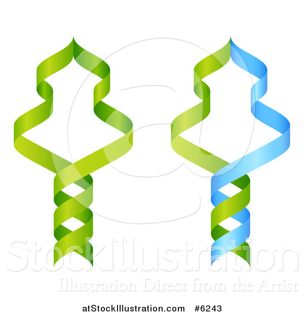 Vector Illustration of Green and Blue DNA Double Helix Strands Forming Trees