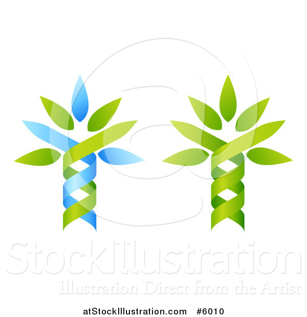 Vector Illustration of Green and Blue Dna Double Helix Tree Designs