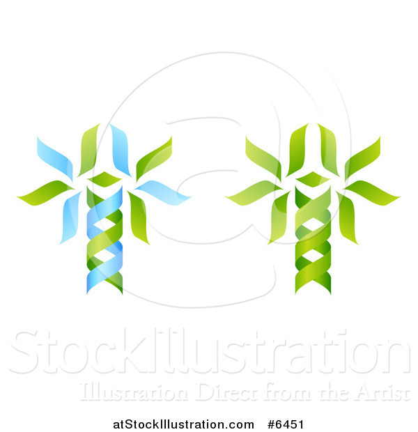 Vector Illustration of Green and Blue DNA Double Helix Trees Shaped like Caduceuses