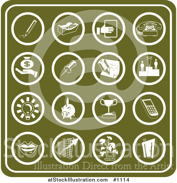 Vector Illustration of Green Business Icons Including a Pencil, Tape Dispenser, Telephone, Money, Winner, Light Bulb, Piggy Bank, Trophy, Cell Phone, Lips, Chart, Plant and Door
