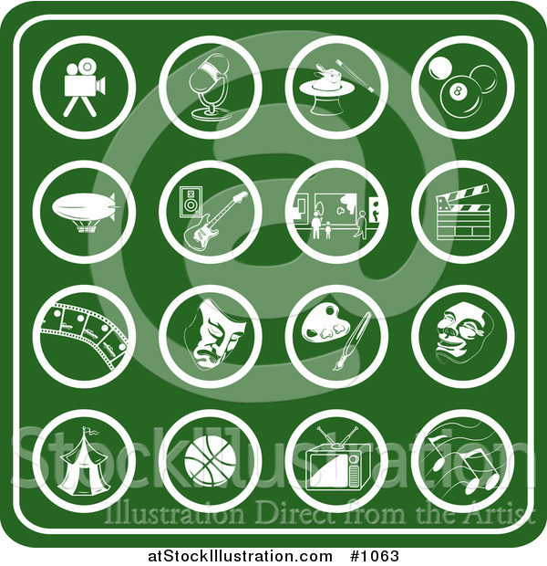 Vector Illustration of Green Hobby Icons Including a Video Camera, Microphone, Magic Hat, Billiards Ball, Blimp, Guitar, Museum, Clapboard, Film Strip, Theater Mask, Paint Palette, Carnival Tent, Basketball, Tv and Music Notes