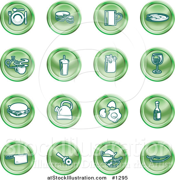 Vector Illustration of Green Icons: Food and Kitchen Items on a White Background