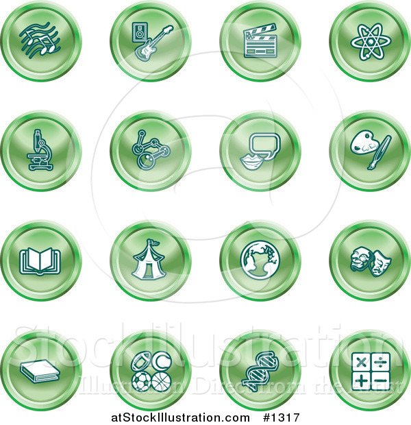 Vector Illustration of Green Icons: Music Notes, Guitar, Clapperboard, Atom, Microscope, Atoms, Messenger, Painting, Book, Circus Tent, Globe, Masks, Sports Balls, and Math