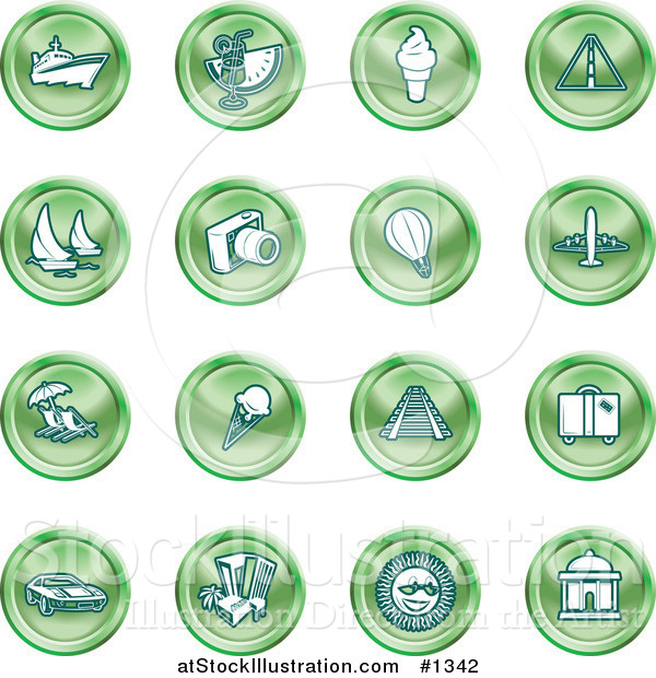 Vector Illustration of Green Icons on a White Background