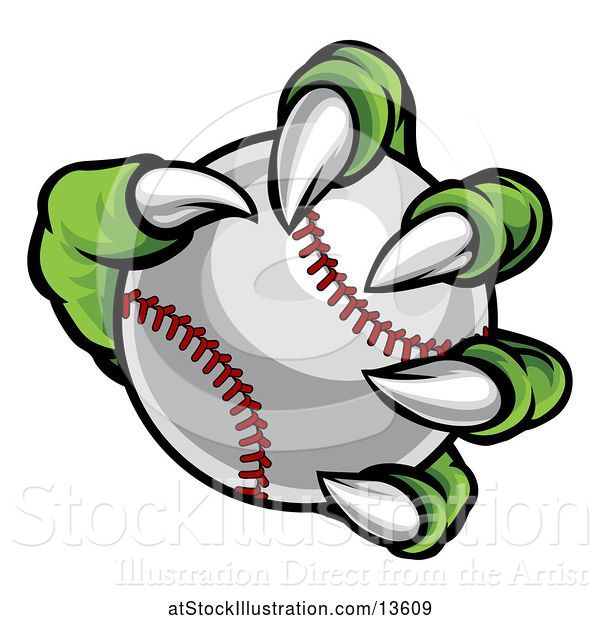 Vector Illustration of Green Monster Claw Holding a Baseball