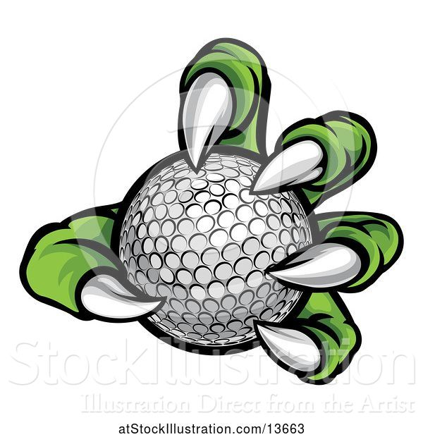 Vector Illustration of Green Monster Claw Holding a Golf Ball