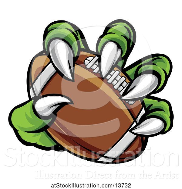 Vector Illustration of Green Monster Claw Holding an American Football