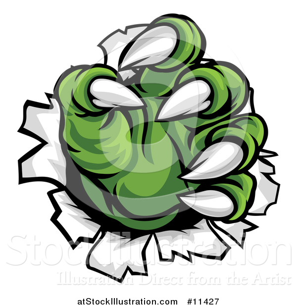 Vector Illustration of Green Monster Claws Ripping Through Metal with Sharp Talons