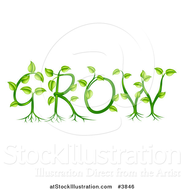 Vector Illustration of Green Plants Forming the Word GROW