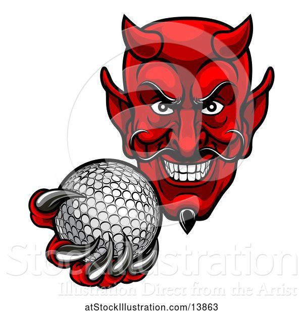 Vector Illustration of Grinning Evil Red Devil Holding out a Golf Ball in a Clawed Hand