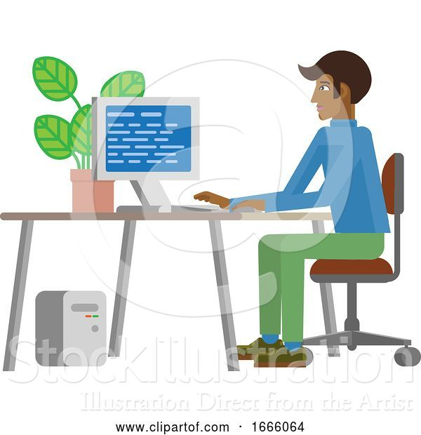 Vector Illustration of Guy Working at Desk in Business Office