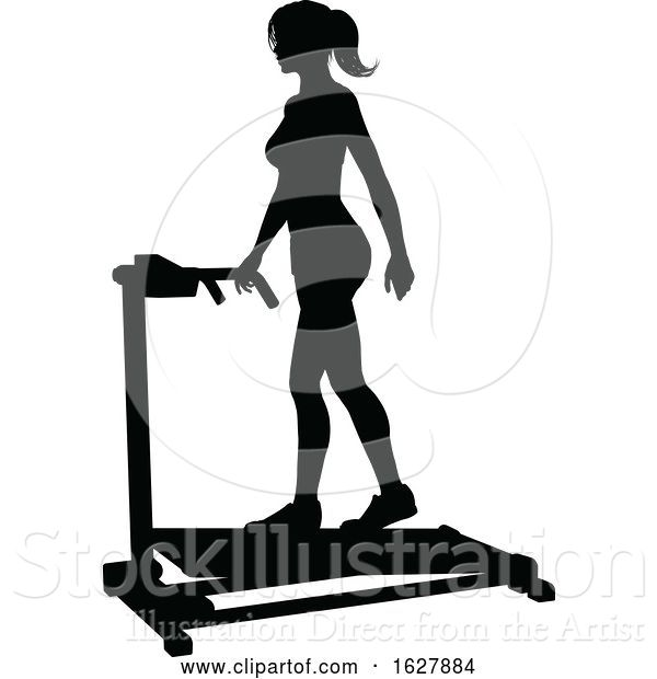 Vector Illustration of Gym Lady Silhouette Treadmill Running Machine