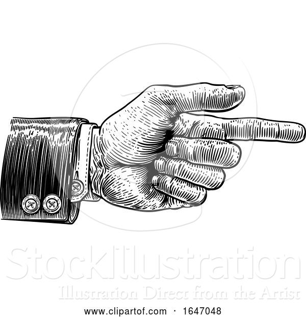 Vector Illustration of Hand Pointing Finger Direction in Business Suit