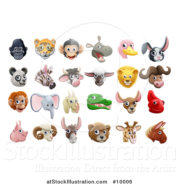 Vector Illustration of Happy Animal Face Avatars
