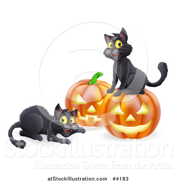 Vector Illustration of Happy Black Cats Playing by Halloween Pumpkins