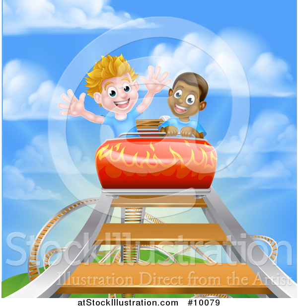 Vector Illustration of Happy Boys on a Roller Coaster Ride, Against a Blue Sky with Clouds