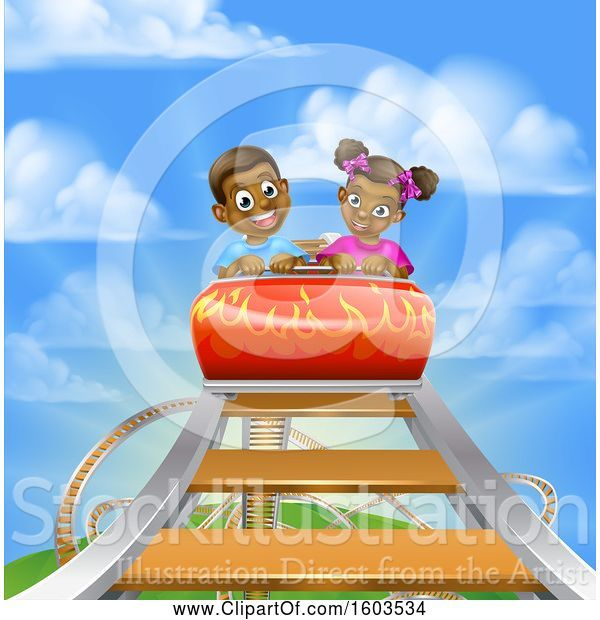 Vector Illustration of Happy Cartoon Black Boy and Girl at the Top of a Roller Coaster Ride, Against a Blue Sky with Clouds