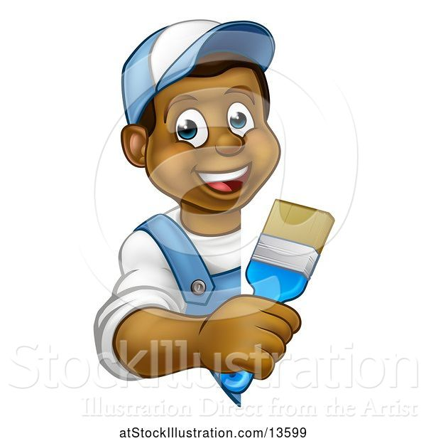 Vector Illustration of Happy Cartoon Black Male Painter Holding a Brush Around a Sign