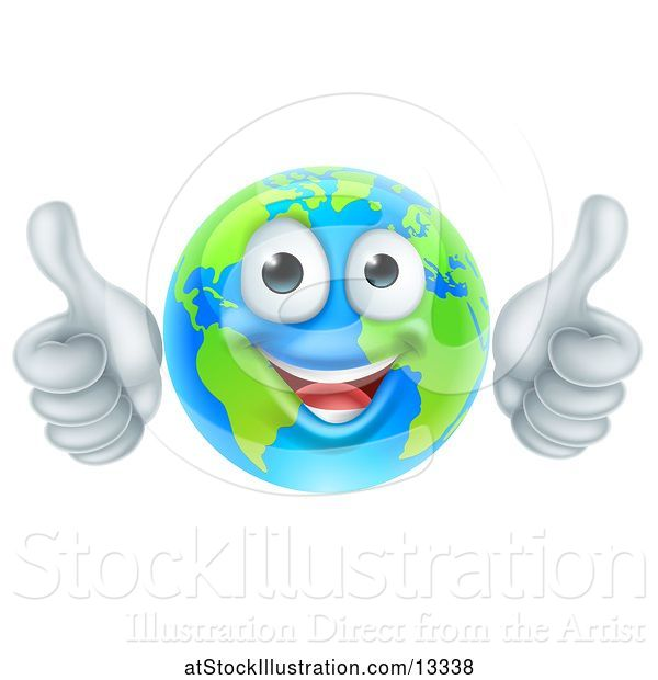 Vector Illustration of Happy Cartoon Earth Mascot Giving Two Thumbs up