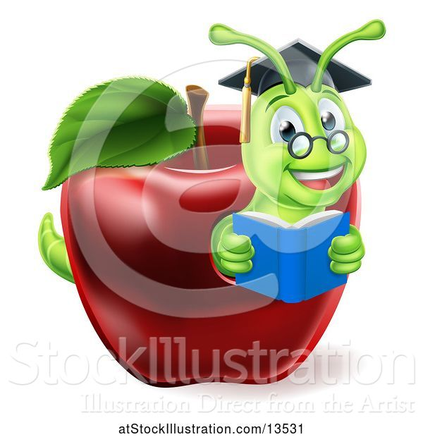 Vector Illustration of Happy Cartoon Green Graduate Book Worm Reading in a Red Apple